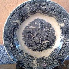 Antigüedades: ANTIGUO PLATO DE CARTAGENA CAZA DEL CIERVO. FAMOSA Y DESAPARECIDA FABRICA LA AMISTAD.. Lote 30916354