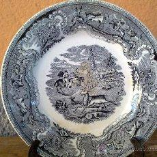 Antigüedades: ANTIGUO PLATO DE CARTAGENA CAZA DEL CIERVO. FAMOSA Y DESAPARECIDA FABRICA LA AMISTAD.. Lote 30916424