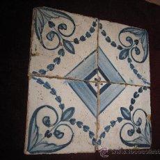 Antigüedades: LOTE : CONJUNTO DE 4 AZULEJOS, TECNICA PINTADA LISA - S/ XIX - TALAVERA / TOLEDO.. Lote 30932829