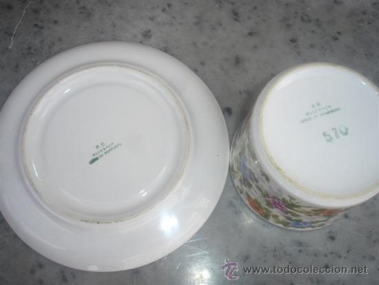 Antigüedades: tazon y plato de ceramica - Foto 2 - 30945402