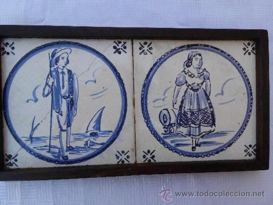 ANTIGUOS AZULEJOS DELFT FINALES DEL SIGLO XVIII (Antigüedades - Porcelana y Cerámica - Holandesa - Delft)