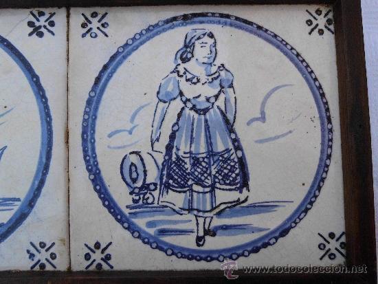 Antigüedades: Antiguos azulejos Delft finales del siglo XVIII - Foto 2 - 30949276