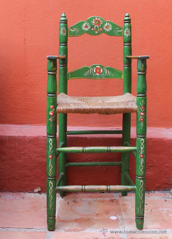 Antigua trona silla para ni o pintada a mano co comprar - Sillas antiguas de segunda mano ...