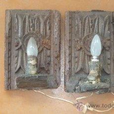 Antigüedades: PAREJA DE APLIQUES DE PARED BARROCOS, ORIGINALES DE S.XVIII. EN MADERA TALLADA. . Lote 30990990