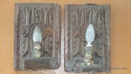 Antigüedades: Pareja de apliques de pared barrocos, originales de s.XVIII. En madera tallada. - Foto 2 - 30990990