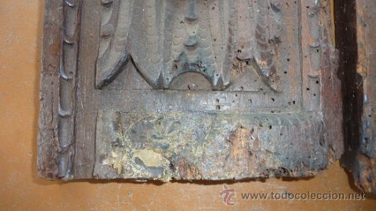 Antigüedades: Pareja de apliques de pared barrocos, originales de s.XVIII. En madera tallada. - Foto 7 - 30990990