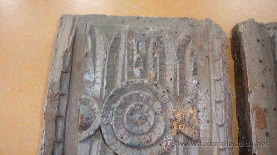 Antigüedades: Pareja de apliques de pared barrocos, originales de s.XVIII. En madera tallada. - Foto 9 - 30990990