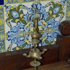 Antigüedades: VELÓN. LÁMPARA DE ACEITE. BRONCE. S XIX.. Lote 30989836
