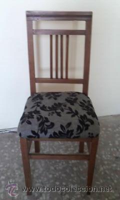 Antigüedades: Antigua silla de madera de roble con mas de 86 años, recién tapizada. - Foto 2 - 30996740