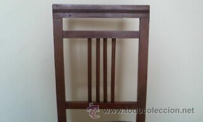 Antigüedades: Antigua silla de madera de roble con mas de 86 años, recién tapizada. - Foto 4 - 30996740