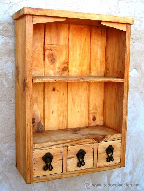 Mueble especiero con 3 cajones y baldas de made comprar armarios antiguos en todocoleccion - Baldas de madera ...