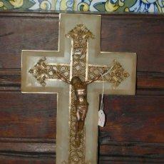 Antigüedades: CRISTO BRONCE. CRUZ ALABASTRO. C1930.. Lote 31111657