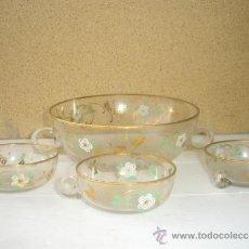 Antigüedades - cuenco con asa de cristal con 3 cuencos cristal fino - 31117878