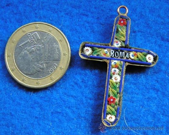 AUTENTICA CRUZ ITALIANA DE MICROMOSAICO VENECIANO FINALES DEL SIGLO XIX MICRO MOSAICO (Antigüedades - Religiosas - Cruces Antiguas)