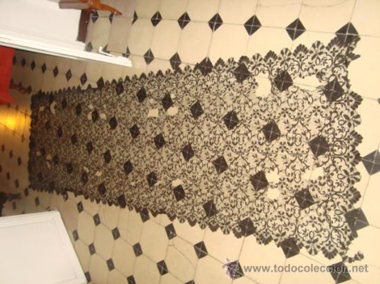 Antigüedades: preciosa mantilla española negra tul bordado, 252 x 78 para restaurar, circulo duquesa alba - Foto 4 - 31120835