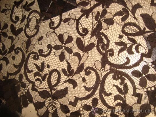 Antigüedades: preciosa mantilla española negra tul bordado, 252 x 78 para restaurar, circulo duquesa alba - Foto 11 - 31120835