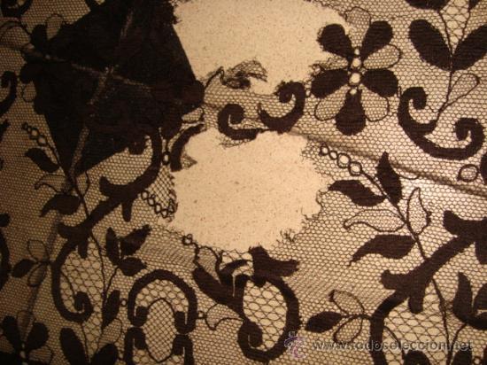 Antigüedades: preciosa mantilla española negra tul bordado, 252 x 78 para restaurar, circulo duquesa alba - Foto 10 - 31120835