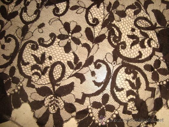 Antigüedades: preciosa mantilla española negra tul bordado, 252 x 78 para restaurar, circulo duquesa alba - Foto 5 - 31120835