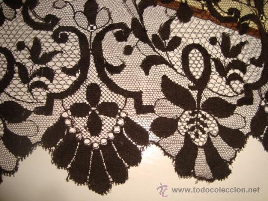 Antigüedades: preciosa mantilla española negra tul bordado, 252 x 78 para restaurar, circulo duquesa alba - Foto 6 - 31120835