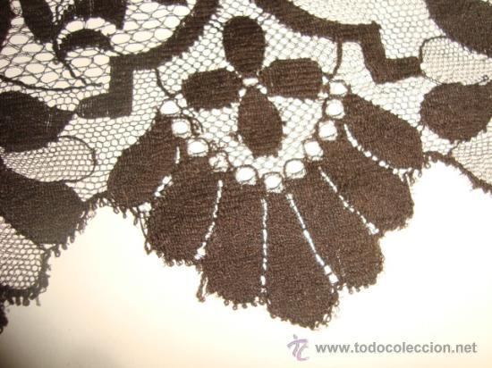 Antigüedades: preciosa mantilla española negra tul bordado, 252 x 78 para restaurar, circulo duquesa alba - Foto 3 - 31120835
