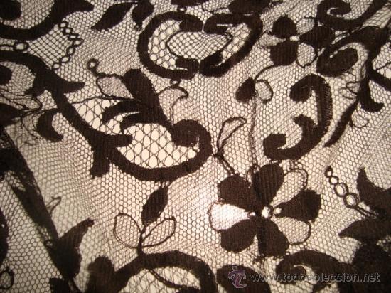 Antigüedades: preciosa mantilla española negra tul bordado, 252 x 78 para restaurar, circulo duquesa alba - Foto 2 - 31120835