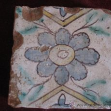 Antigüedades: AZULEJO ANTIGUO, DE VALENCIA / ALCORA. TECNICA PINTADA LISA. FINALES SIGLO XVIII. Lote 31132094