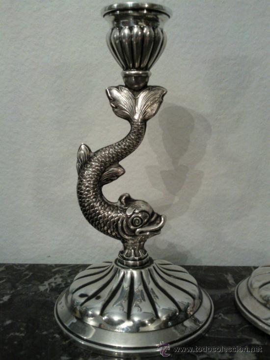 Antigüedades: Antigua pareja de portavelas en plata con marca - Foto 13 - 31143099