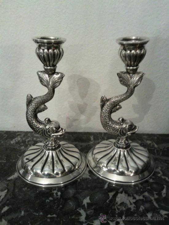Antigüedades: Antigua pareja de portavelas en plata con marca - Foto 5 - 31143099