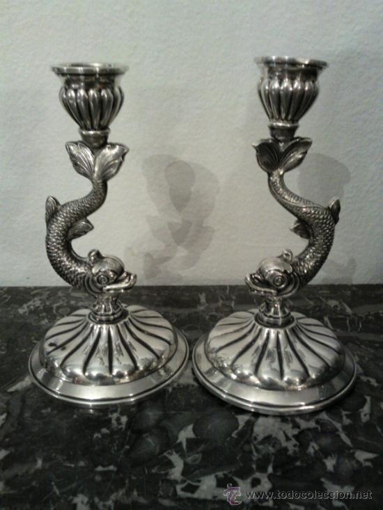 Antigüedades: Antigua pareja de portavelas en plata con marca - Foto 4 - 31143099