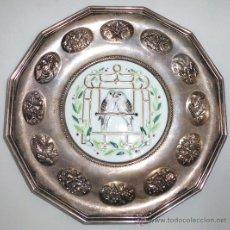 Antigüedades: PLATITO DE PLATA Y ESMALTE CON DOS TÓRTOLAS-300GRM DE PLATA -FABRICADO POR THE GORHAM . CO AMERICA. Lote 31180061