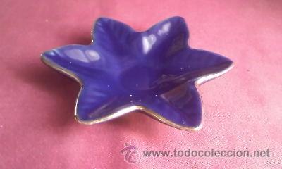 Antigüedades: Pequeña salsera en forma de estrella de porcelana de cobalto.Marca ECHT KOBALT.Con filo de oro 24 KT - Foto 3 - 31226709