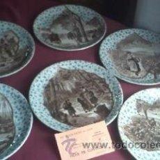 Antigüedades: COLECCIÓN DE 6 PLATOS DE SERRAGUMINES FRANCIA .MOTIVOS COSECHAS FRUTALES.SIGLO XIX. Lote 31227799