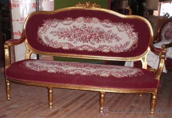 Antigüedades: sofa de 3 plazas y mesa . Estilo antiguo. - Foto 8 - 26029807