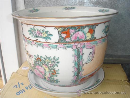 macetero de porcelana oriental con plato segunda mano