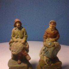 Antigüedades: 2 FIGURAS TERRACOTA DE PESCADORES. Lote 31269059