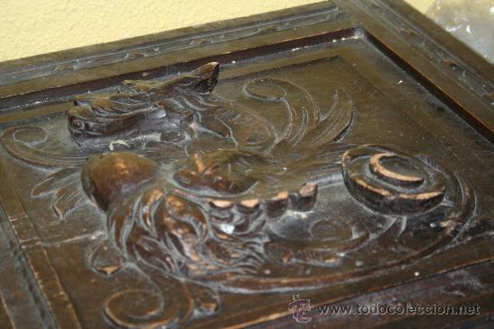 Antigüedades: antigua arca estilo frances con dibujos en relieve - Foto 6 - 31271150
