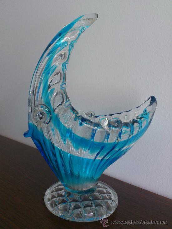 CENICERO ANTIGUO CON FORMA DE PEZ EN CRISTAL DE MURANO AZUL TURQUESA, ART DECO . (Antigüedades - Cristal y Vidrio - Murano)