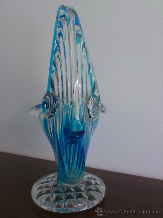 Antigüedades: Cenicero antiguo con forma de pez en cristal de murano azul turquesa, art deco . - Foto 2 - 31272414