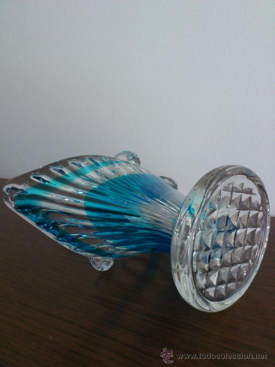 Antigüedades: Cenicero antiguo con forma de pez en cristal de murano azul turquesa, art deco . - Foto 4 - 31272414