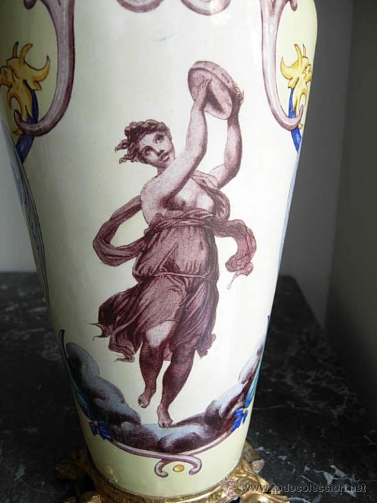 Antigüedades: JARRON DE PORCELANA PINTADO A MANO CON ENGARCE EN BRONCE - Foto 5 - 31284297