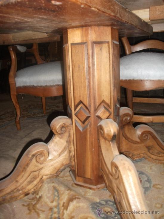 Antigüedades: mesa de comedor isabelina de nogal sxix - Foto 4 - 27219499