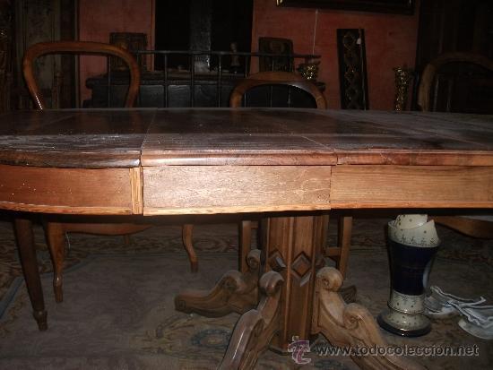 Antigüedades: mesa de comedor isabelina de nogal sxix - Foto 10 - 27219499