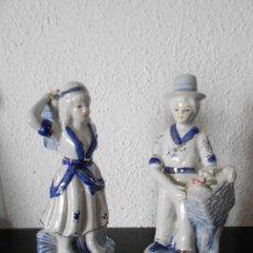 Antigüedades: PAREJA DE FLORISTAS EN PORCELANA CHINA SELLADA ----AÑOS 70---. Lote 31297066