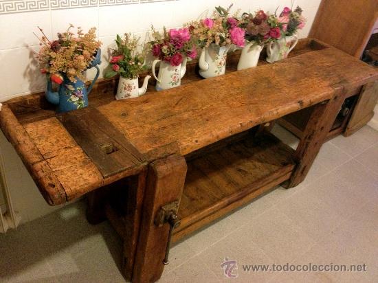 antiguo y soberbio banco de carpintero de pino - Comprar Muebles ...