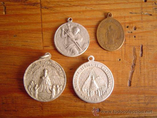 LOTE 4 MEDALLAS RELIGIOSAS. (Antigüedades - Religiosas - Medallas Antiguas)