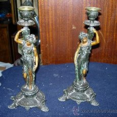 Antigüedades: PAREJA DE CANDELABROS. Lote 31354338