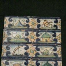 Antigüedades: OCHO AZULEJOS PINTADOS A MANO PRINCIPIOS DEL SIGLO XX . Lote 31365756