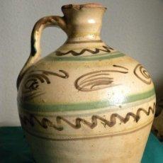 Antigüedades: ALCUZA O ACEITERA CERAMICA PUENTE ARZOBISPO CON BANDAS Y PLUMAS S, XIX . Lote 31342909