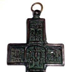 Antigüedades: CRUZ CON ESCENAS RELIGIOSAS, MEDIDAS 5,3 X 10 CM. Lote 31348778