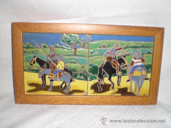 BONITA PAREJA DE AZULEJOS ENMARCADOS DE TRIANA,(SEVILLA),ESCENAS DEL QUIJOTE (Antigüedades - Porcelanas y Cerámicas - Triana)